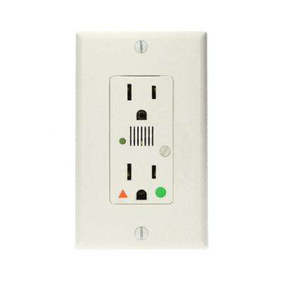 Decora Plus 15 Amp Hospital Grade Extra Heavy Duty Isolated Ground Duplex Surge Outlet with Audible Alarm, White