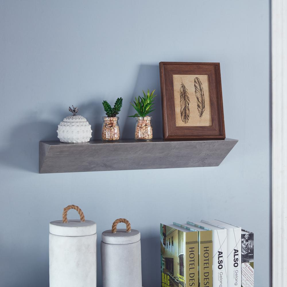 Contempo Gray Faux Stone MDF Triangular Ledge Floating Wall Shelf