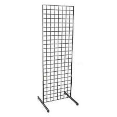 72 in. H x 24 in. W Grid Wall Panel Tower with T-Base Floor standing Grid Wall Display Kit Black