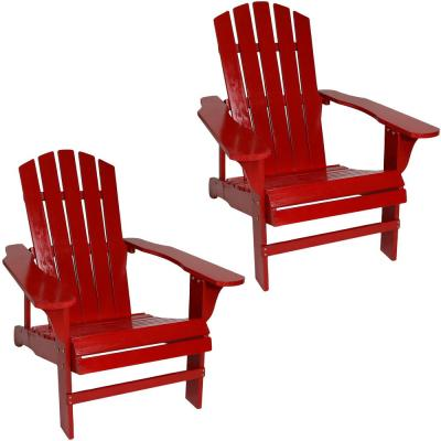 Coastal Bliss Red Wooden Adirondack Chair (Set of 2)