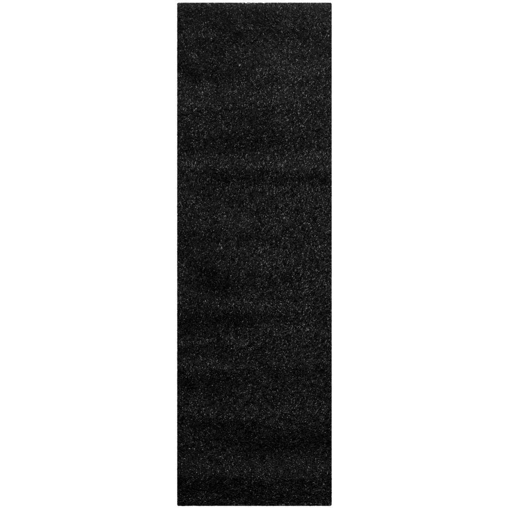 California Shag Black 2 ft. x 5 ft. Runner Rug