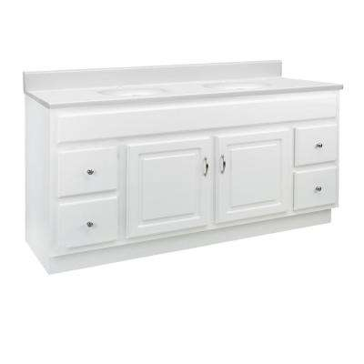 60 in. x 21 in. x 30 in. 2-Door 4-Drawer Vanity in White with Solid White Single Hole CM Vanity Top with Double Basin