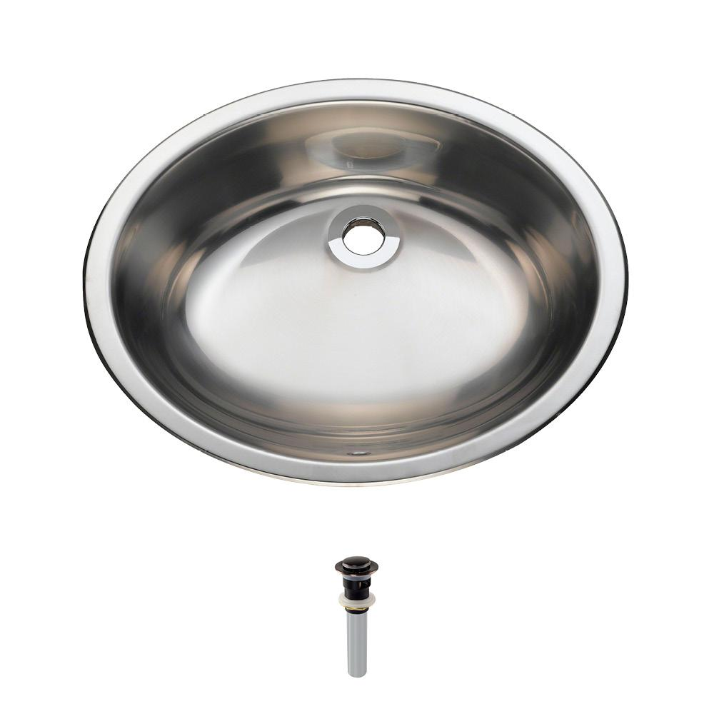 MR Direct Dual-Mount Bathroom Sink in Stainless Steel with Pop-Up Drain in Antique Bronze
