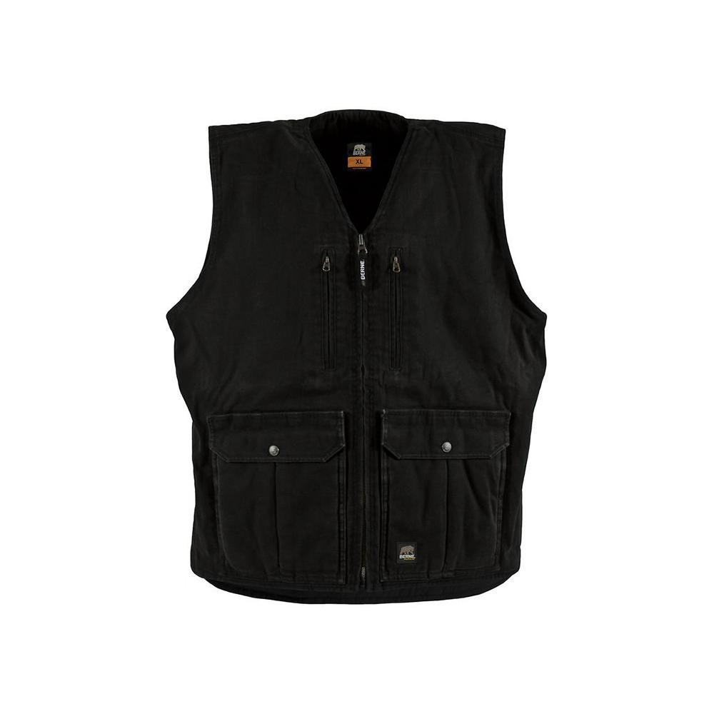Berne Men's Large Black Cotton Echo One Zero Vests