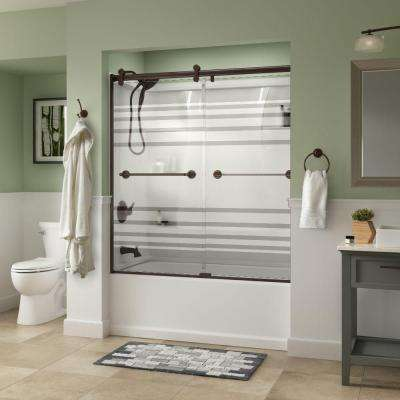 Silverton 60 in. x 58-3/4 in. Semi-Frameless Contemporary Sliding Bathtub Door in Bronze with Transition Glass