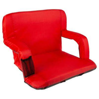 Red Cushioned Wide Stadium Seat Chair with Carry Straps