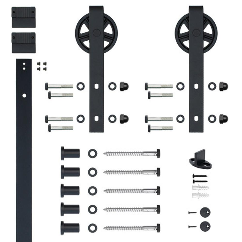 Null Soft Closed Hook Strap Black Rolling Barn Door Hardware Kit With 5 In.  Wheel