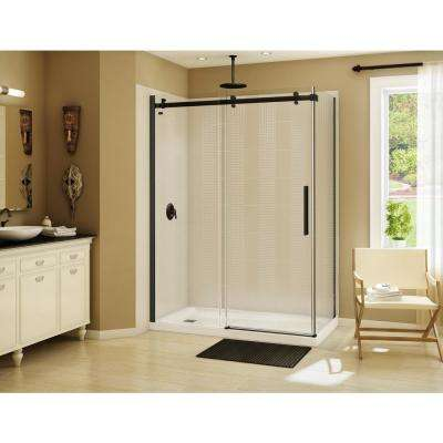 Halo 60 in. x 31-7/8 in. Frameless Corner Sliding Shower Enclosure in Dark Bronze