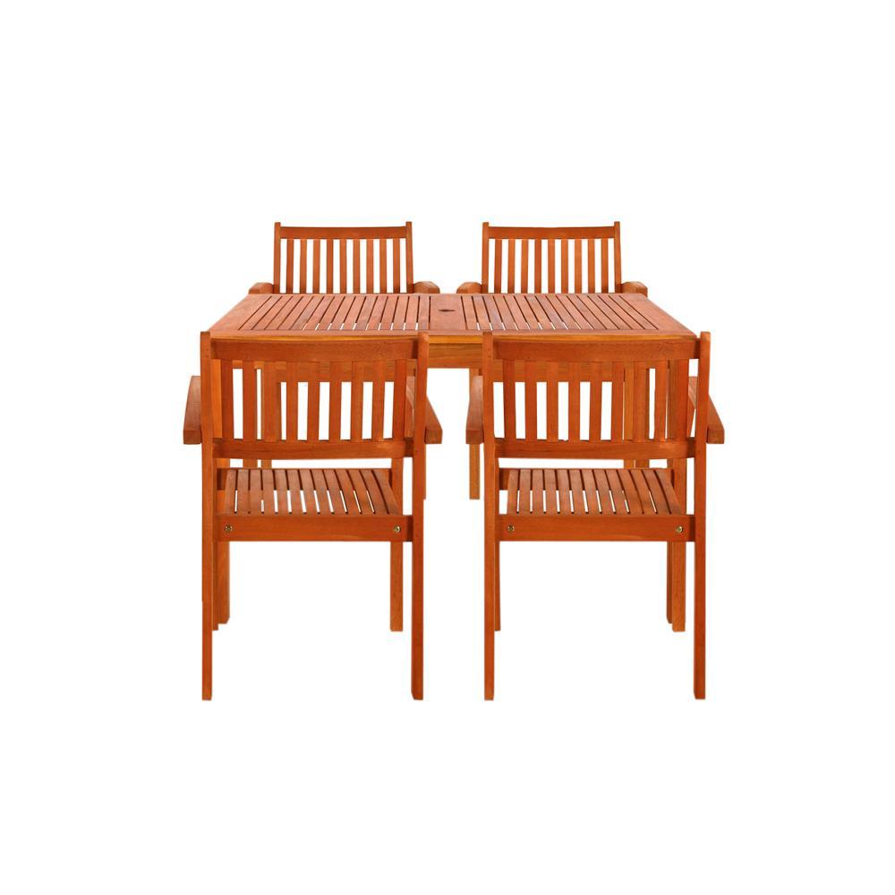 Walker Edison Furniture Company Gray Rattan 5 Piece