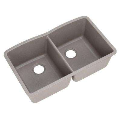 Diamond Undermount Granite Composite 32 in. 0-Hole Double Bowl Kitchen Sink in Metallic Gray