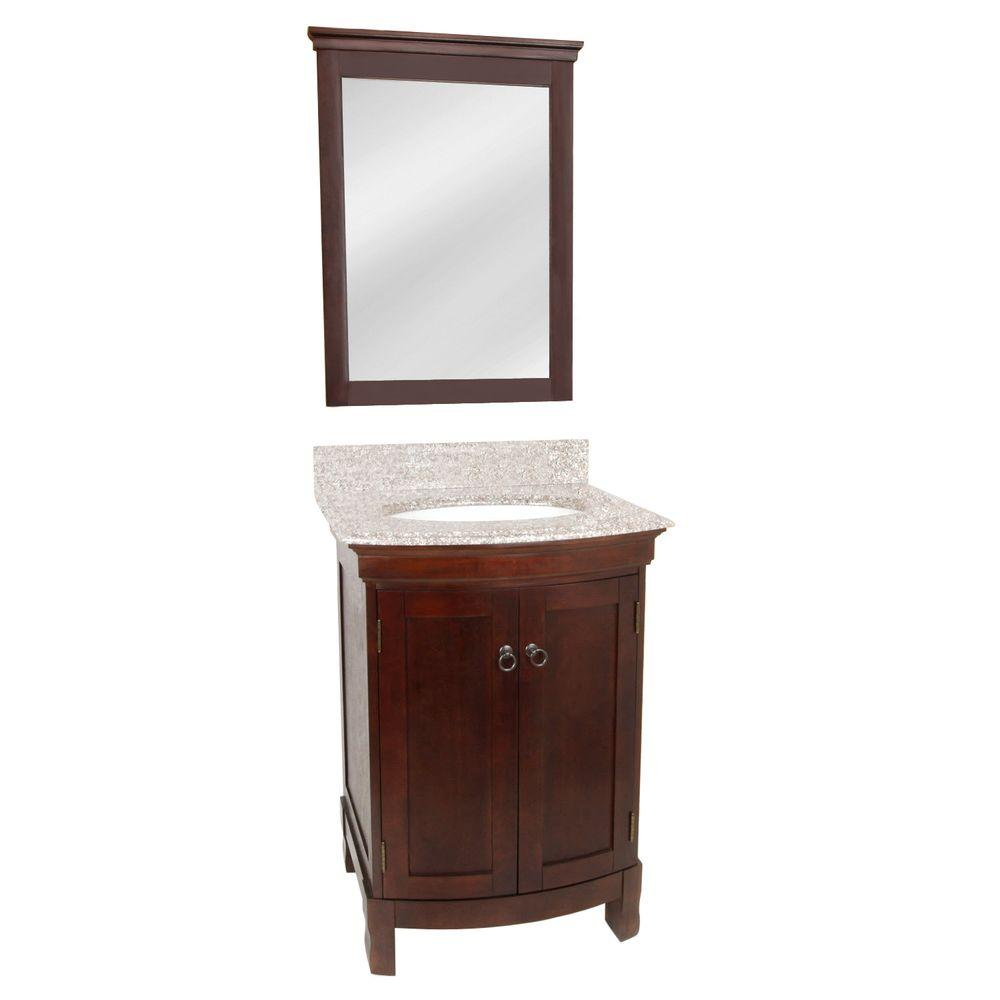Foremost Clairemont 24 in. Vanity in Espresso with Canyon Dusk Granite Top and Mirror in Espresso-DISCONTINUED