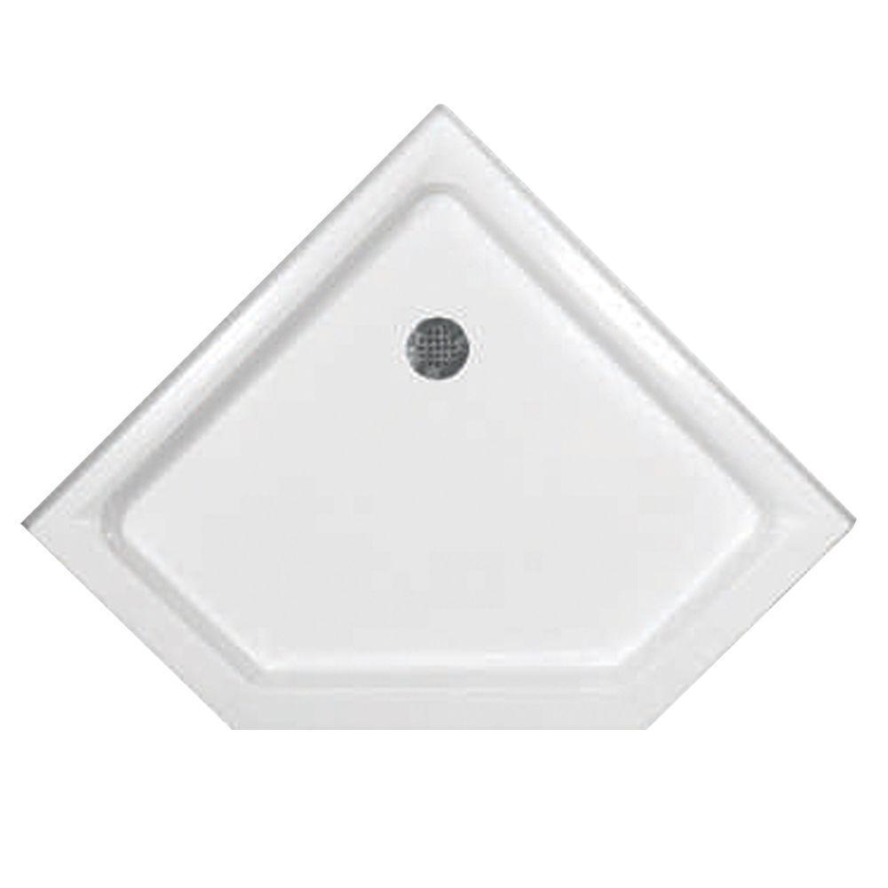 48 in. x 33 in. Triple Threshold Neo Shower Base in White