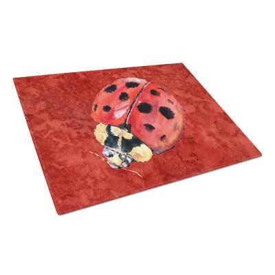 Lady Bug on Deep Red Tempered Glass Large Cutting Board