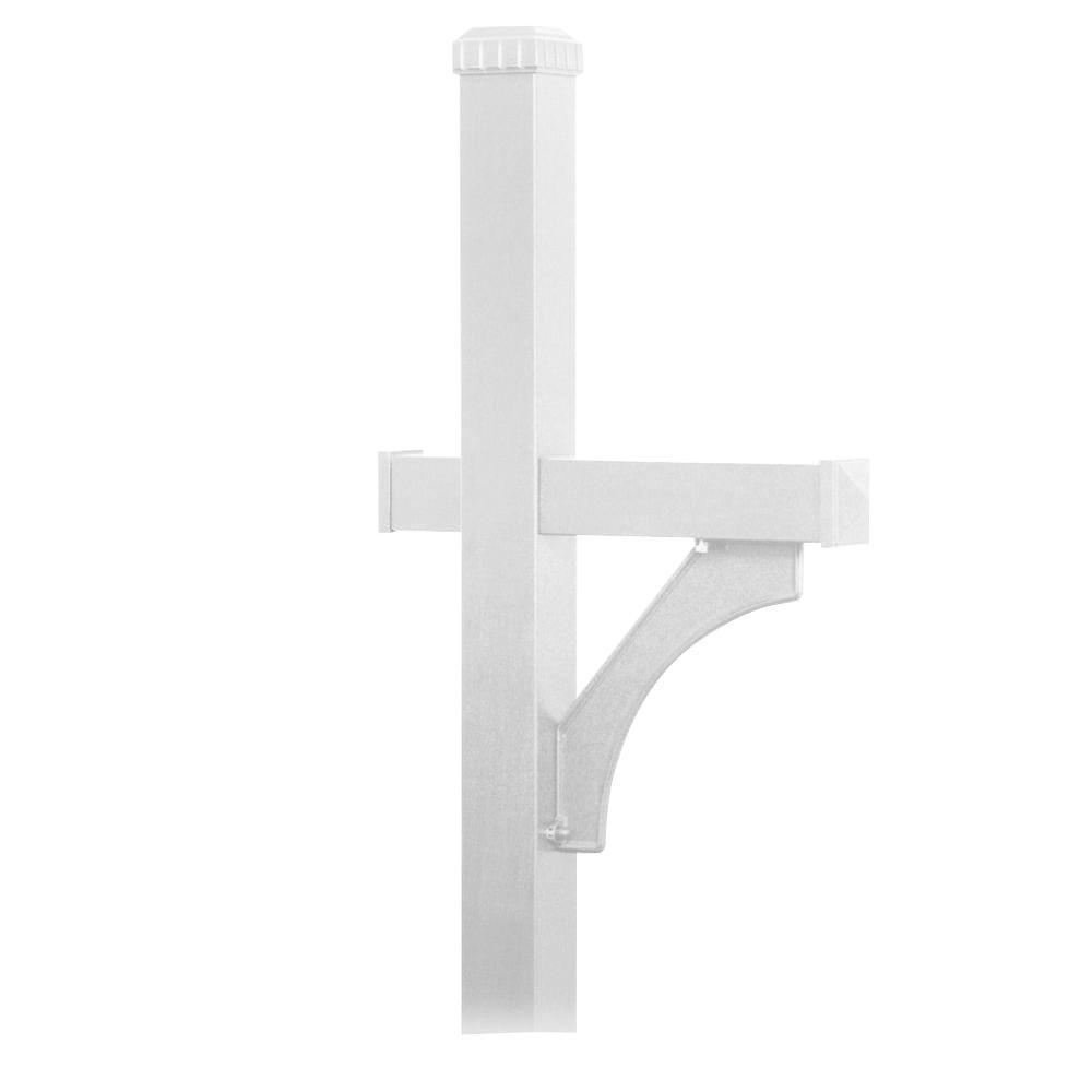Deluxe 1-Sided In-Ground Mounted Mailbox Post for Roadside Mailbox in White