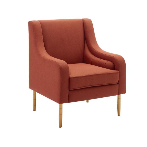 Lorna Rust Accent Chair with Gold Legs