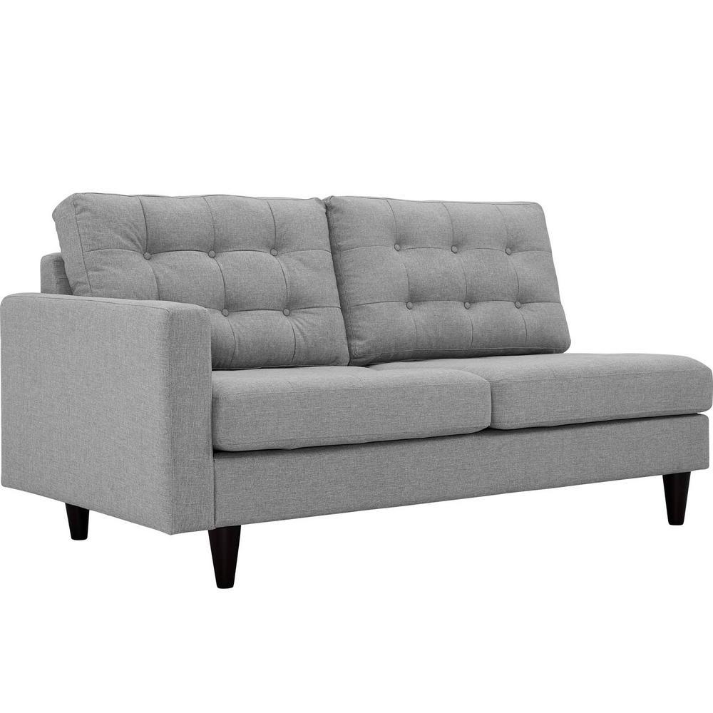Empress Left-Facing Upholstered Fabric Loveseat in Light Gray