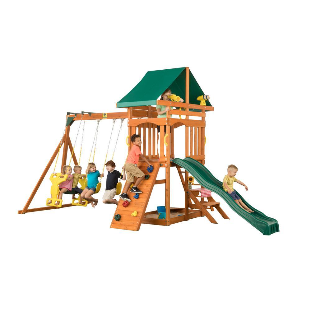 Kidkraft Cedarbrook Cedar Swing Set F23850 The Home Depot