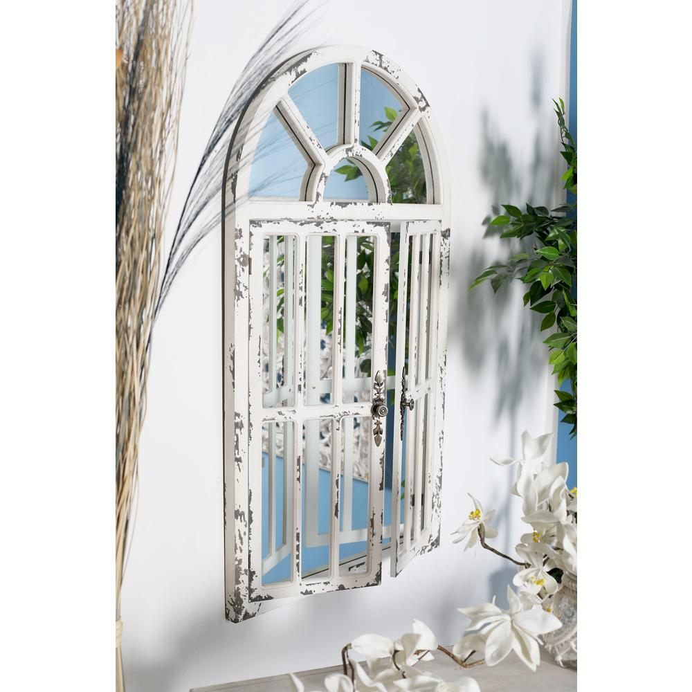 Arched Window Distressed White Decorative Wall Mirror
