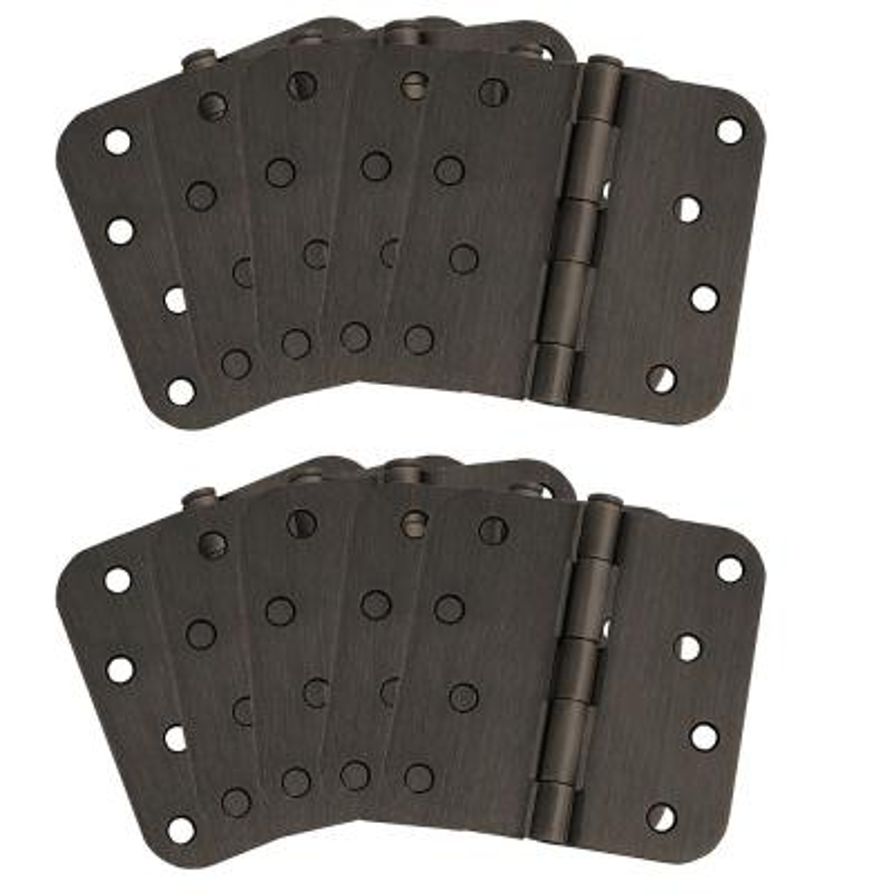 4 in. x 5/8 in. Radius Oil Rubbed Bronze Door Hinge Value Pack (10 per Pack)