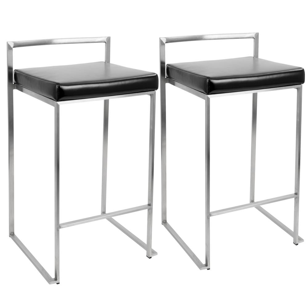 Lumisource Fuji Black Stackable Counter Stool (Set of 2)