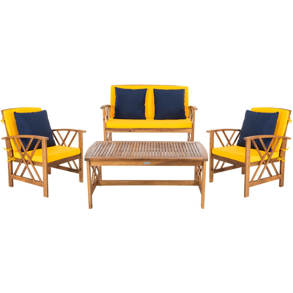 Safavieh Fontana Natural 4-Piece Wood Patio Conversation ... on Safavieh Outdoor Living Fontana id=92574