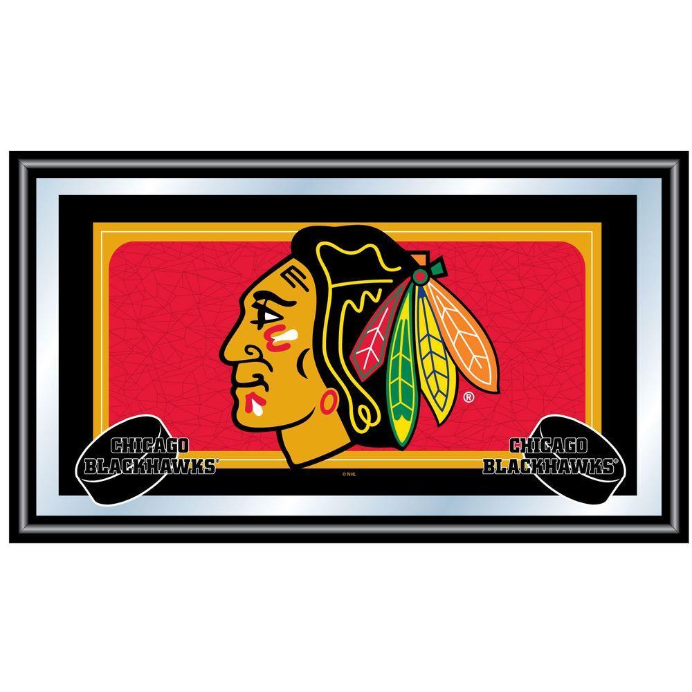 Trademark NHL Chicago Blackhawks Logo 15 in. x 26 in. Black Wood Framed Mirror