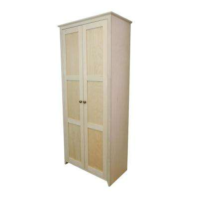 Shaker Style Unfinished 31.5 in. Wide 2-Door 6-Shelf Pantry Storage Cabinet