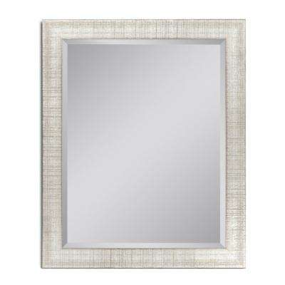28 in. W x 34 in. H Textured Mesh Wall Mirror in Platinum
