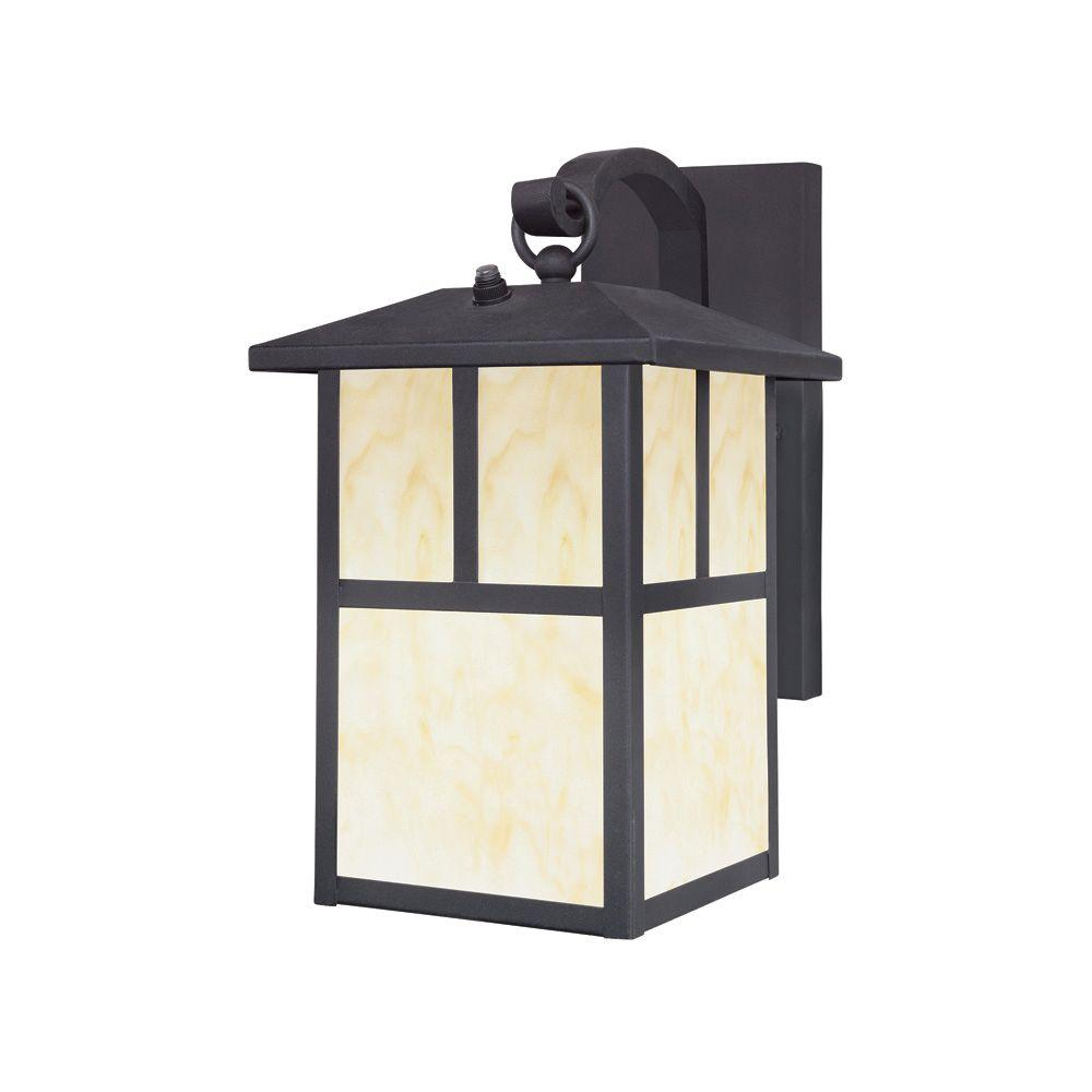 Westinghouse 1 Light Textured Black Steel Outdoor Wall Lantern Sconce With Dusk To Dawn Sensor And Honey Art Gl Panels