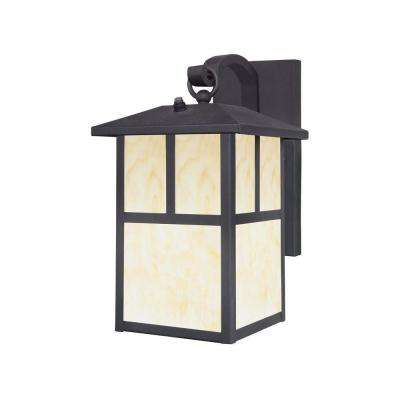 1-Light Textured Black Steel Outdoor Wall Lantern Sconce with Dusk to Dawn Sensor and Honey Art Glass Panels