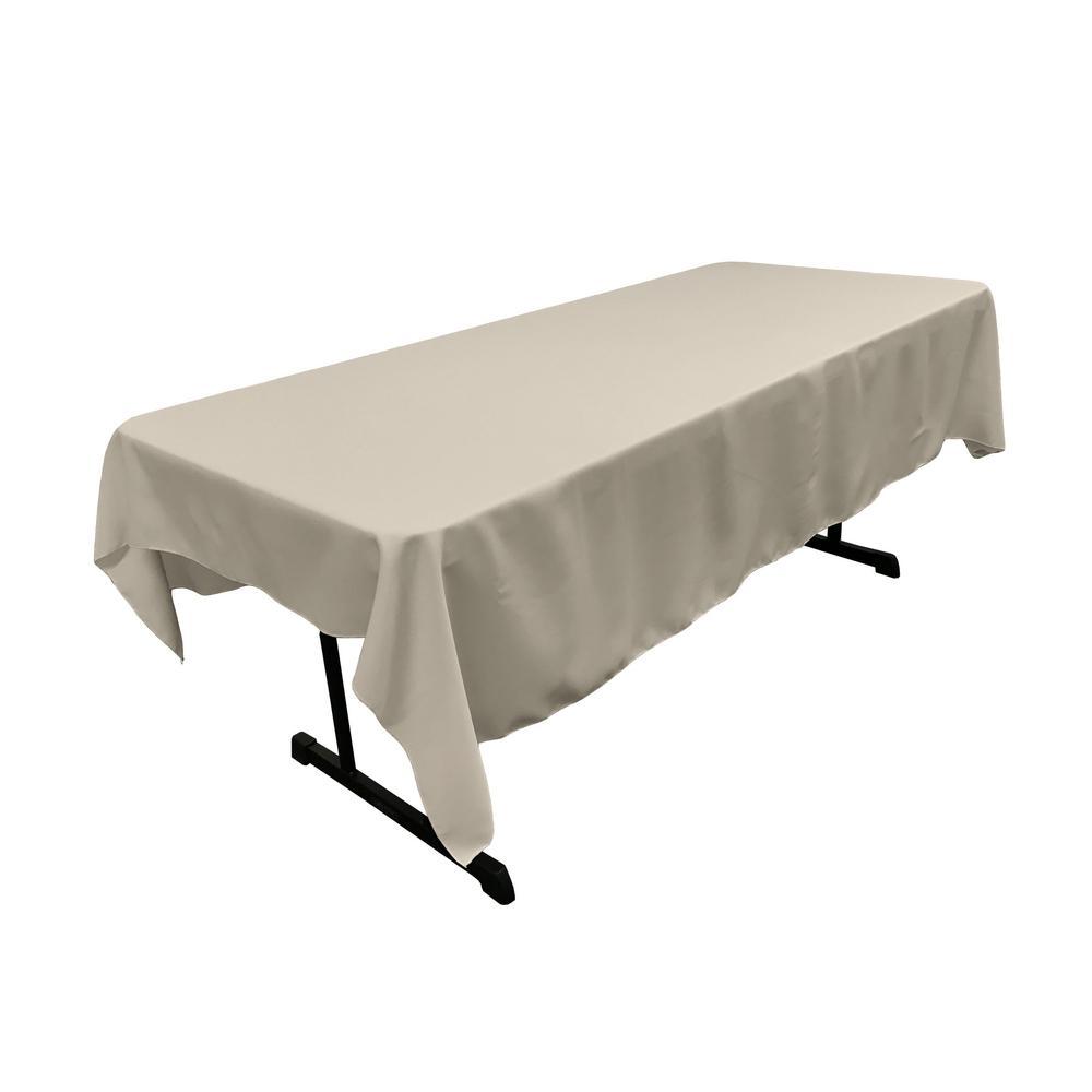 Polyester Poplin 60 in. x 84 in. Light Grey Rectangular Tablecloth