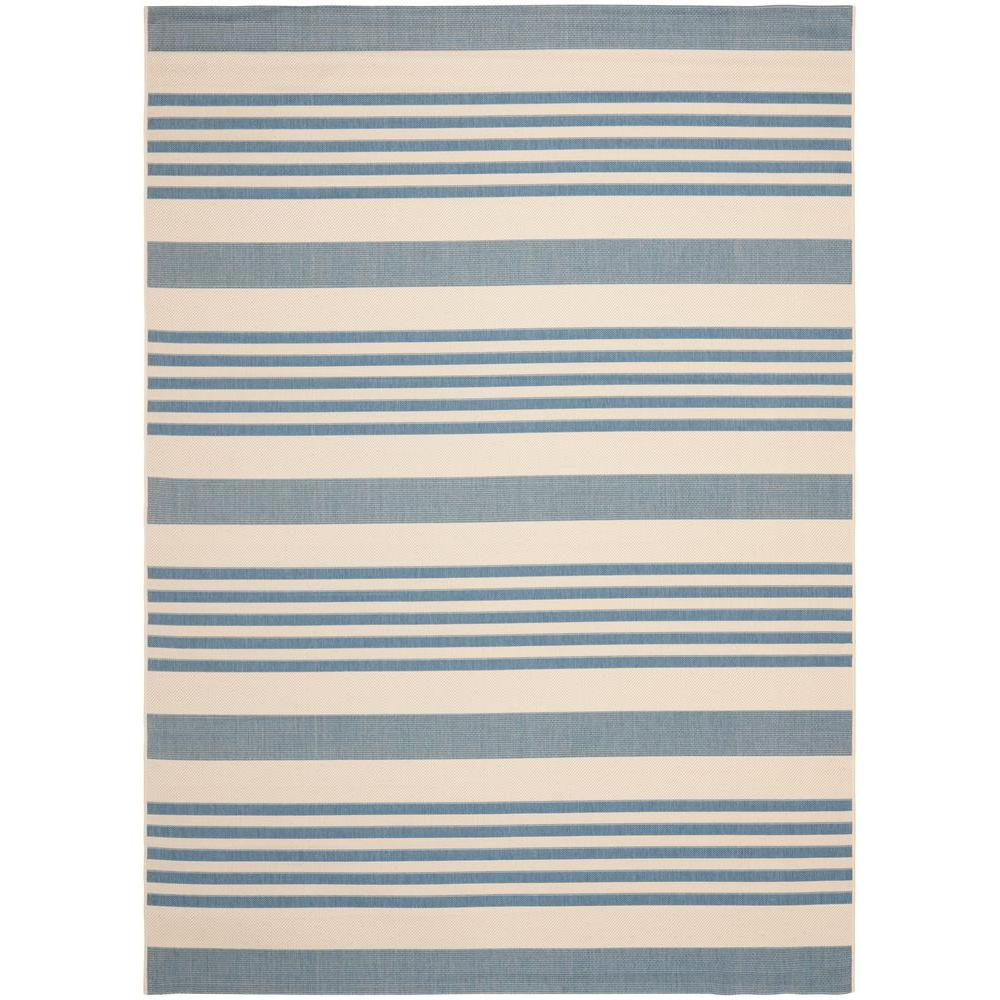 Safavieh Courtyard Beige Blue 9 Ft X 12 Ft Indoor Outdoor Area Rug