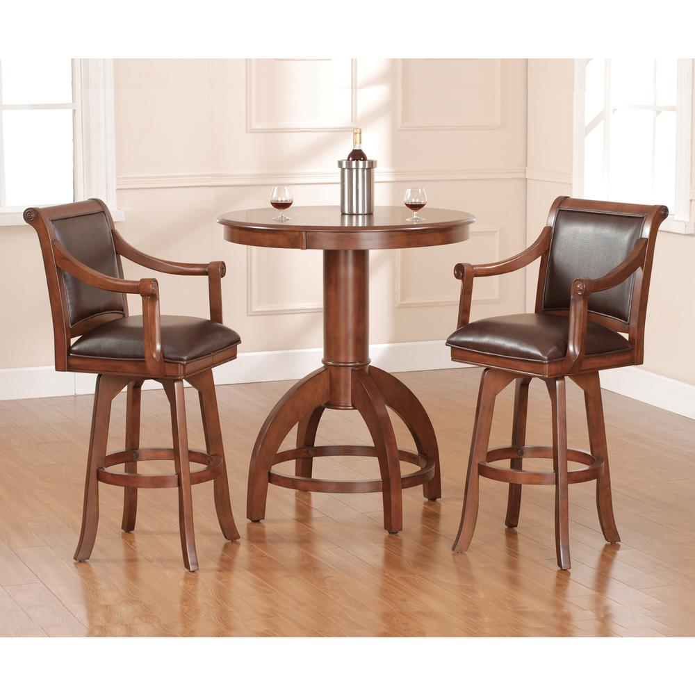 Hillsdale Furniture Palm Springs 30 In Medium Brown Cherry Swivel Cushioned Bar Stool 4185 830
