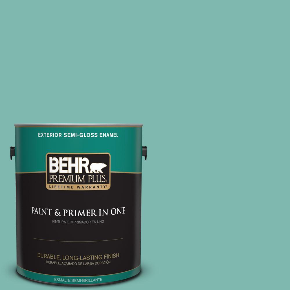 BEHR Premium Plus 1-gal. #490D-5 Winter Surf Semi-Gloss Enamel Exterior Paint