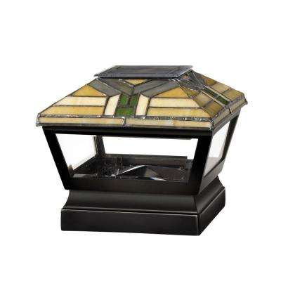 5 in. x 5 in. Vinyl Solar Light Forest Top Pyramid Post Cap with Black Base