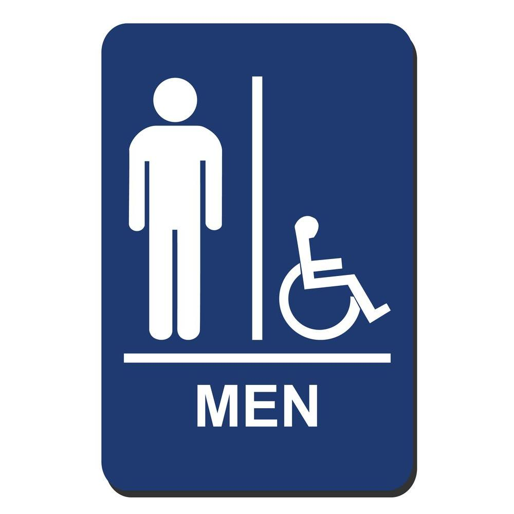 Lynch Sign 6 in. x 9 in. Men Accessible Braille for Latch Side of Door Sign
