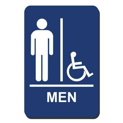 6 in. x 9 in. Men Accessible Braille for Latch Side of Door Sign