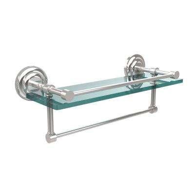 16 in. L  x 5 in. H  x 5 in. W Gallery Clear Glass Bathroom Shelf with Towel Bar in Polished Chrome