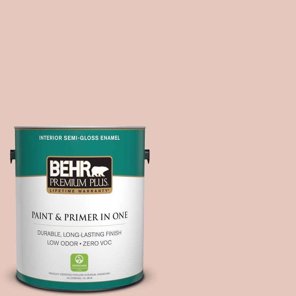 BEHR Premium Plus 1-gal. #210E-3 Almond Willow Zero VOC Semi-Gloss Enamel Interior Paint
