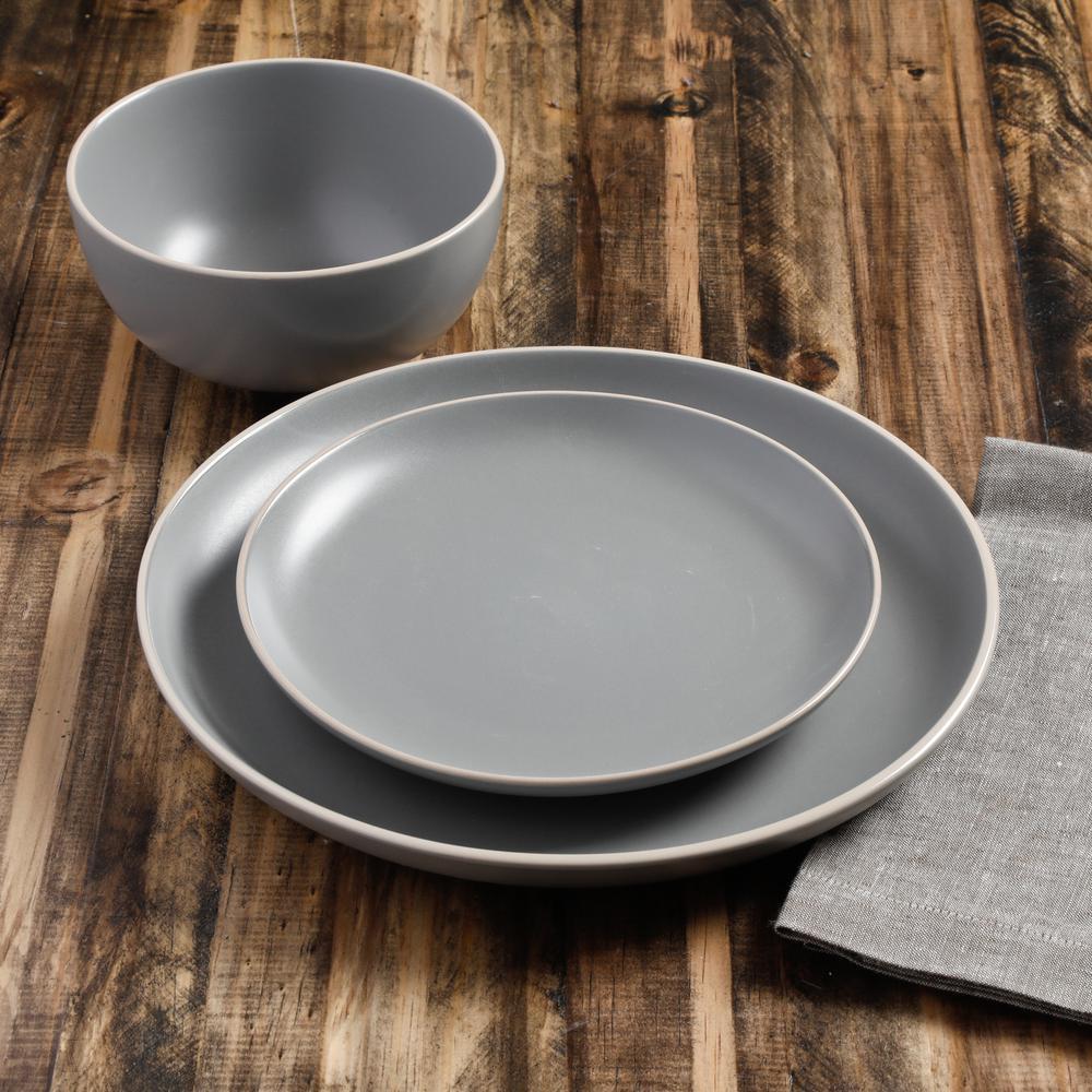 Rockaway 12-Piece Modern Matte Gray Ceramic Dinnerware Set (Service for 4)