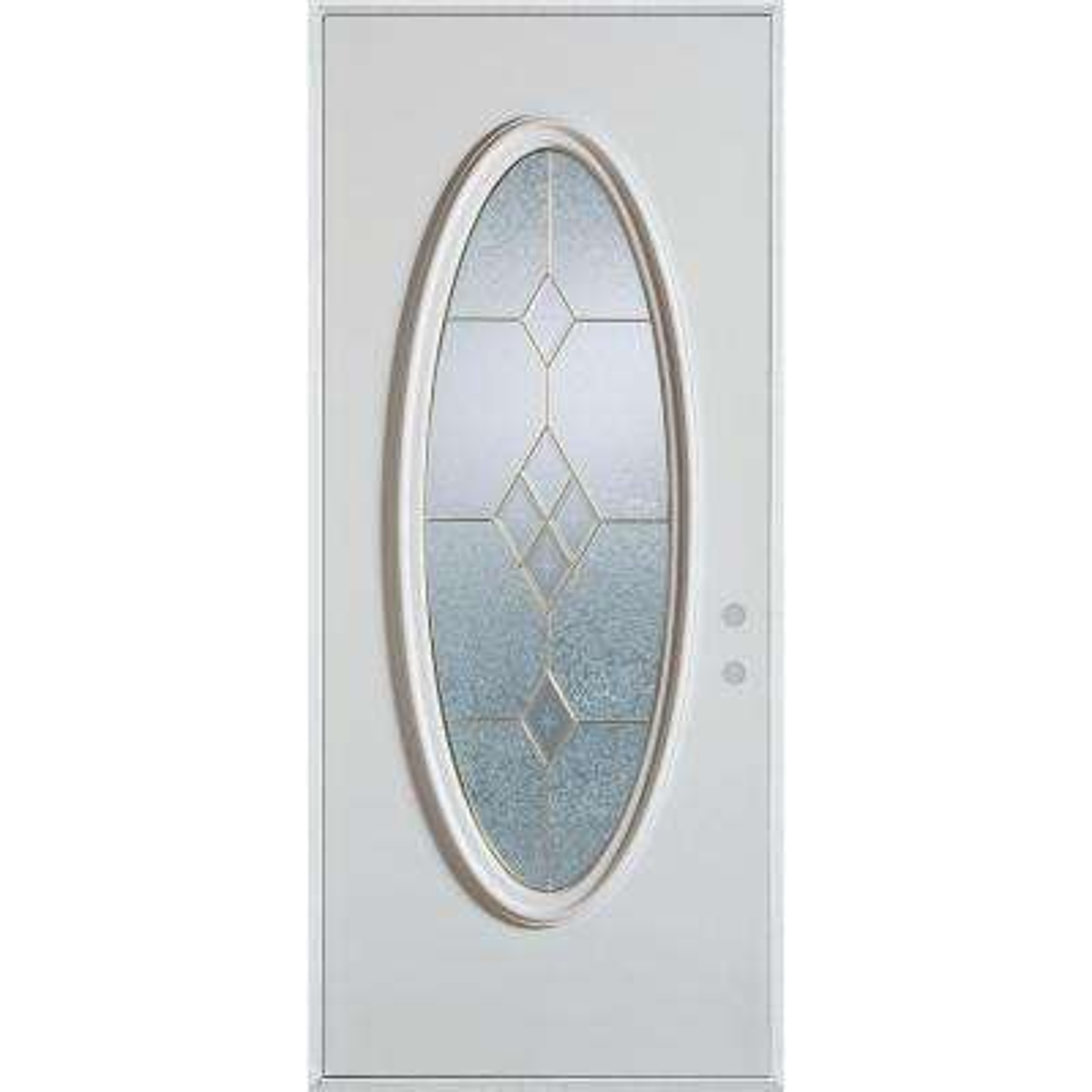 36 in. x 80 in. Geometric Zinc Full Oval Lite Painted White Left-Hand Inswing Steel Prehung Front Door