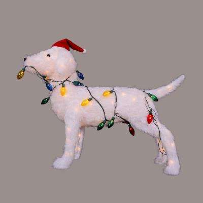 28.5 in. Christmas 3-D Standing Decorative Dog Lighted Outdoor Decoration