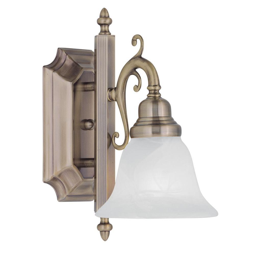 1-Light Antique Brass Bath Light with White Alabaster Glass