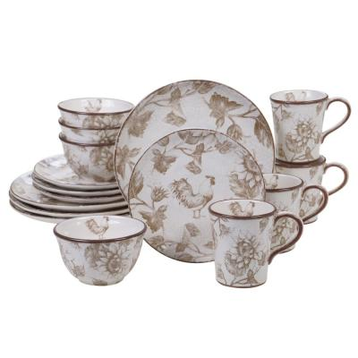 Toile Rooster 16-Piece Multi-color Dinnerware Set