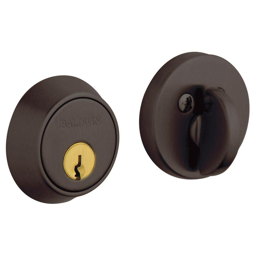 1-5/8 in. Contemporary Single Cylinder Door Prep Venetian Bronze Deadbolt