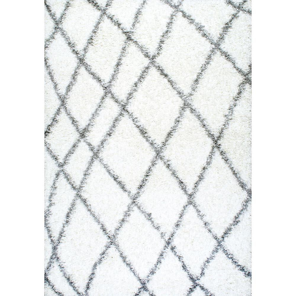 nuLOOM Alvera Plush Shag White 11 x 14 Area Rug