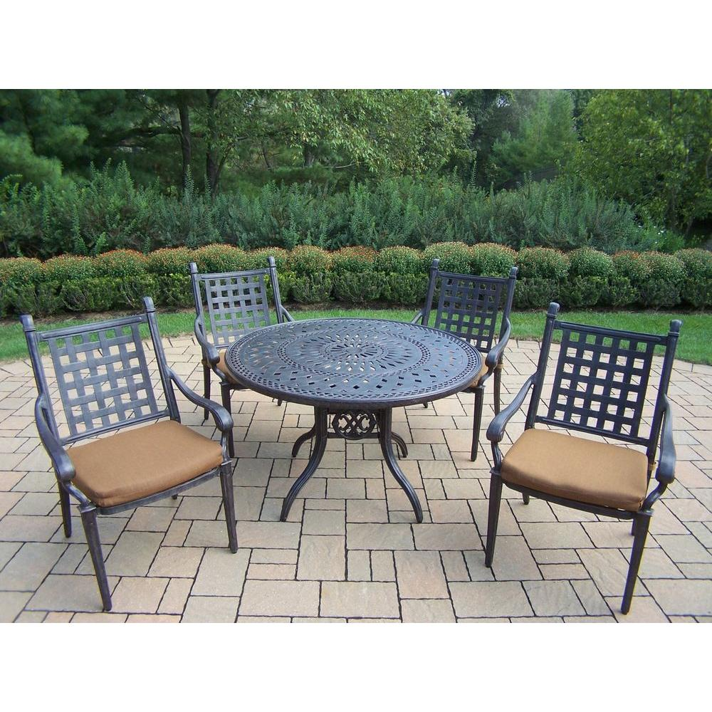 Oakland Living Belmont 46 in. 5-Piece Round Patio Dining ... on Oakland Living Patio Sets id=43417