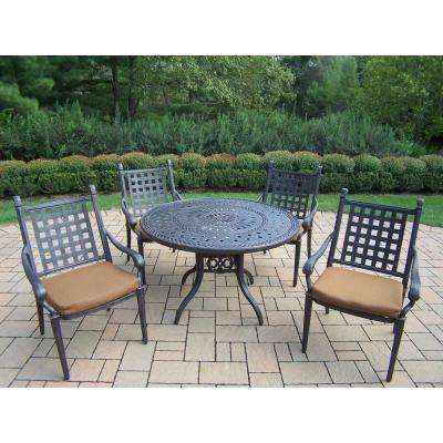 Belmont 46 in. 5-Piece Round Patio Dining Set with Sunbrella Cushions