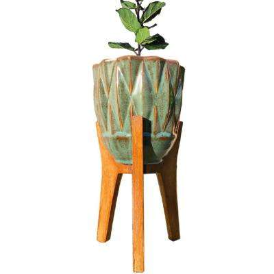 13 in. Teal Ceramic Planter Stand