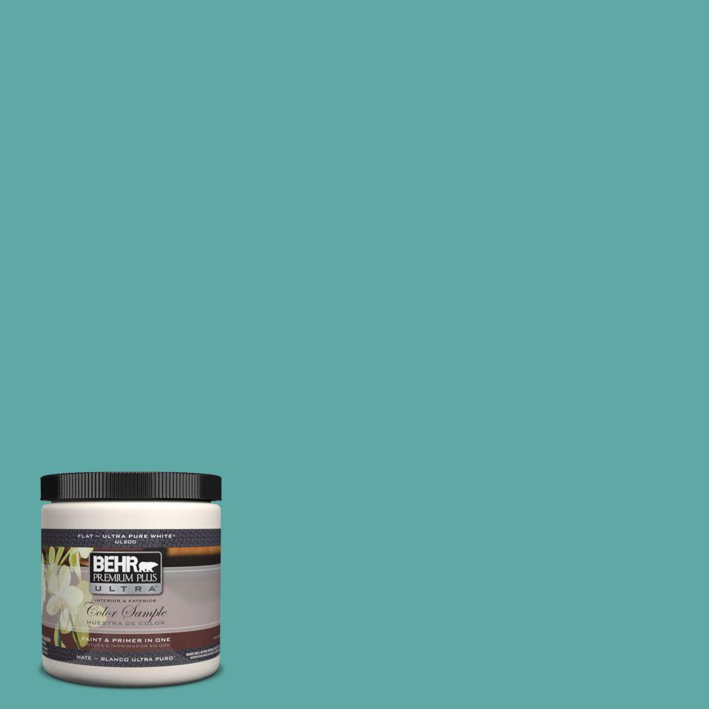 BEHR Premium Plus Ultra 8 oz. #500D-5 Teal Zeal Interior/Exterior Paint Sample